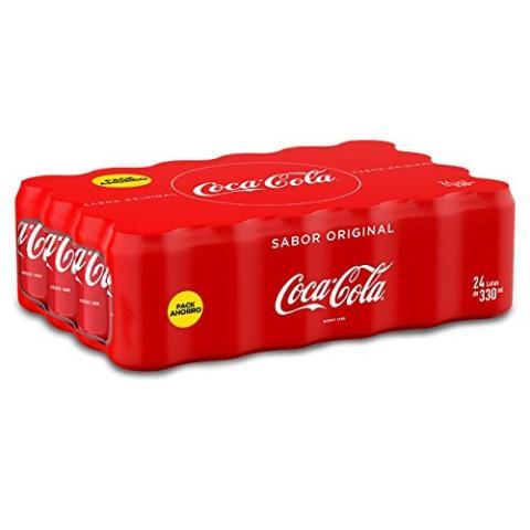 Un palé de 24 latas de Coca Cola