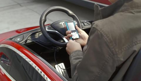 The pint-sized Tesla Model S is battery-powered, fully customizable and comes standard with cool features like a built-in MP3 player.
