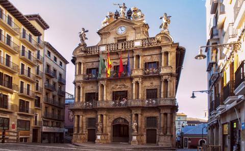 La plaza del Ayuntamiento de Pamplona (Navarra)
