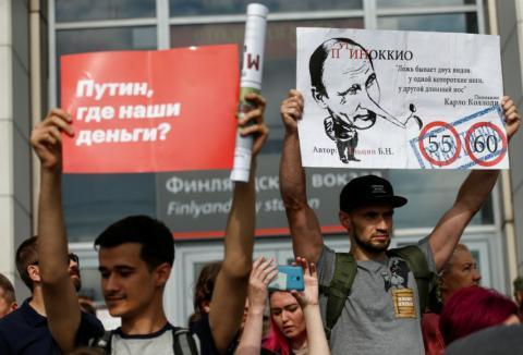 Protestas en las calles de Rusia
