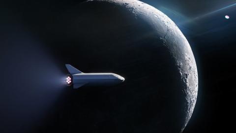 Un boceto de SpaceX sobre la nave que transportará a los primeros pasajeros a la Luna