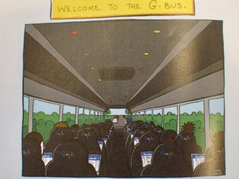 Caricatura del G-Bus, el autobús para empleados de Google