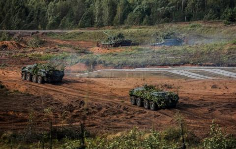 Russian armored vehicles participating in Zapad 2017 exercises.