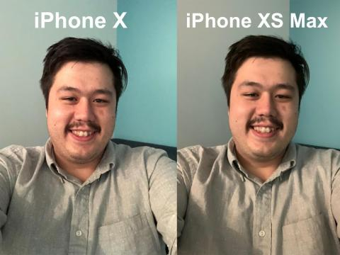 The same goes for Kif's low-light selfies with the iPhone XS Max, where his face is smoothed out considerably compared to the iPhone X selfie. Face sheen is reduced and colors are more uniform in the iPhone XS selfie.