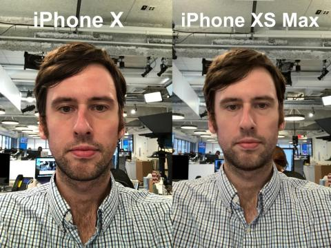 The smoothing is less pronounced here, but it's still there, especially with face sheen. The colors of my face and lips are less red and more uniform in the iPhone XS selfie, too.