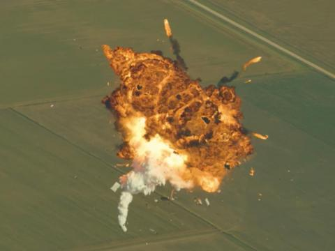 A SpaceX Grasshopper rocket explodes in midair in August 2014 after an engine sensor failure.