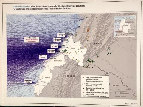 Supuestas rutas de tráfico detectadas en 2016, con salida en el suroeste de Colombia