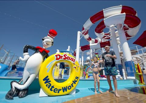There may be no place more fun onboard than Deck 12. Dr. Seuss Waterworks, the giant water park featuring slides and spray toys is located here.