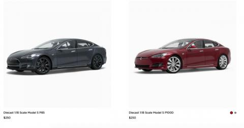 There's also two 1:18 scale models of the Tesla Model S.