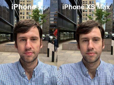 There's a little bit of smoothing going on here, as well as some color uniformity on the iPhone XS' selfie.