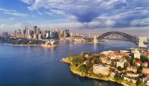Vista aérea de la bahía de Sidney (Australia)