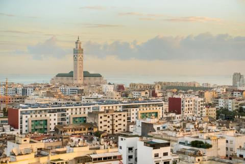 Vista aérea del centro de Casablanca (Marruecos)