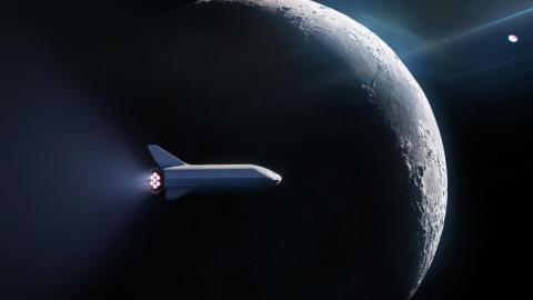 An illustration of the spaceship of SpaceX's Big Falcon Rocket, or BFR, flying around the moon.
