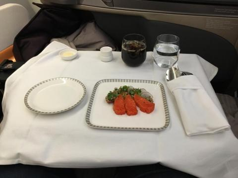 Food and beverage service in business class was rather impressive.
