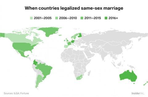 Australia, Alemania y Malta son los más recientes en adoptar el matrimonio homosexual, en 2017. El primer país en hacerlo fue Holanda en 2001.