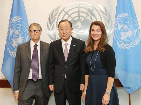 Bill Gates and Melinda Gates with United Nations Secretary General Ban Ki-moon at the United Nations on September 25, 2015 in New York City.