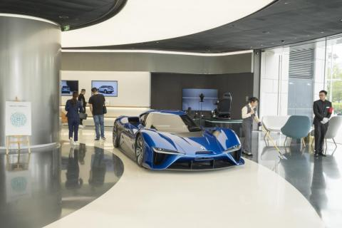 The bottom floor of the Nio House looks like a pared-down car showroom. While the company's ES8 is available to look at, the showstopper is Nio's EP9 supercar, which it says set the record for fastest lap by an electric car at two