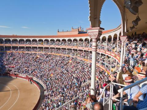 Bull fights are famous in Madrid, though tourist attendance isn't as high as local attendance. Today, the Plaza de Toros de Las Ventas arena fits 20,000 spectators.