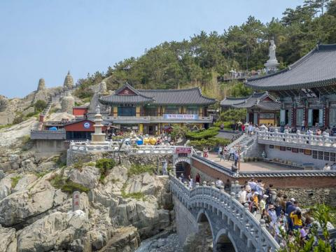 In Busan, I visited the Haedong Yonggungsa temple, one of the only temple complexes located on the ocean in Korea.