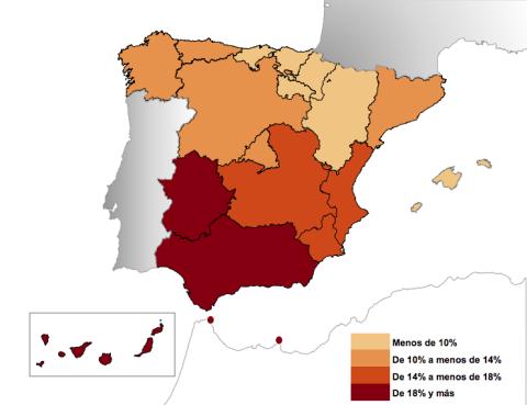 Distribución de la tasa de paro por autonomías