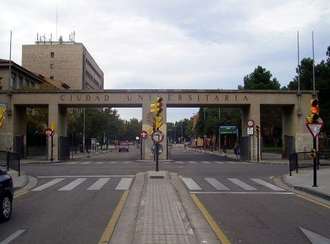 Entrada a la Ciudad Universitaria de Zaragoza