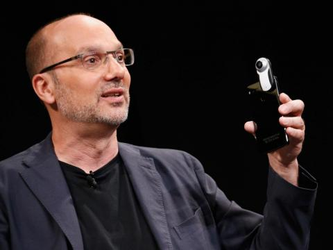 Essential's Andy Rubin, who also co-founded the Android operating system, announcing the Essential Phone with a 360-degree camera attachment.