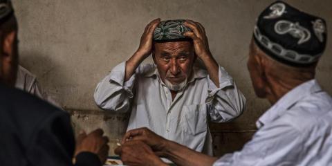 Ethnic Uighur men in a tea house in Kashgar, Xinjiang, in July 2017.