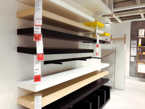 A lot of the products that IKEA carries are very minimalistic and simple. The quality didn't seem to be great, but nothing was particularly expensive. These shelves cost $20 each.