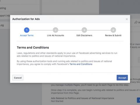 Facebook's authorization process for users wanting to post political ads on its site and apps.