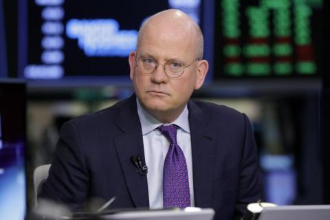 El director y consejero delegado de General Electric, John Flannery, entrevistado en el edificio de la bolsa de Nueva York