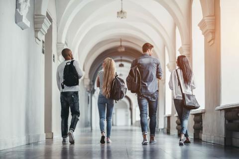 Un grupo de estudiantes pasea por una universidad