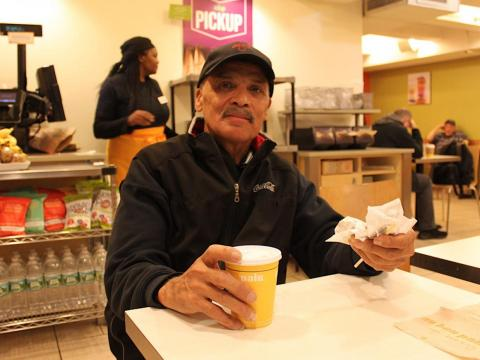 He usually grabs oatmeal and coffee at a bakery near Liberty Coca-Cola, but today he enjoyed a bagel and coffee at Penn Station's Au Bon Pain.