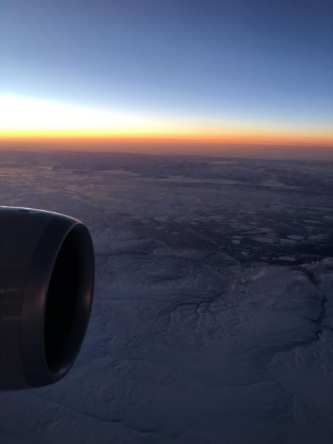 Here's a shot of us flying past the North Pole. Santa is nowhere to be seen.