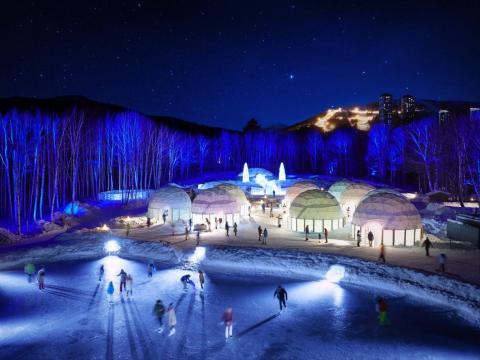 The Hoshino Resort Tomamu ice village in Hokkaido, Shimukappu, Japan, is totally frozen.