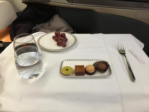 I got some grapes, a chocolate truffle, and a selection of petit fours. The matcha one was my favorite.