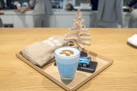 """I had the signature latte drink, which alludes to the company's Chinese name, Weilai. It translates to """"blue sky coming."""""""