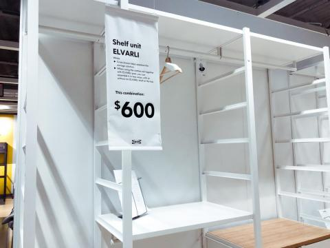 Shelving units can be bought individually or in combination with one another. Combinations could cost as much as $600, but it was hard to tell how sturdy they were.