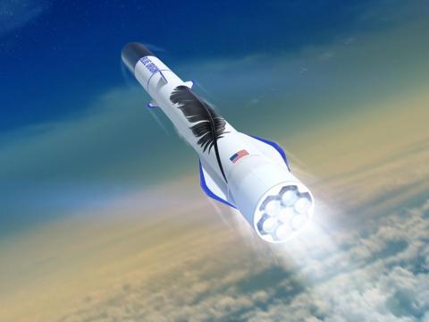 An illustration of Blue Origin's reusable New Glenn rocket launching toward space.