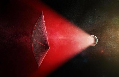 An illustration of a radio-beam-powered light sail on an alien spacecraft.