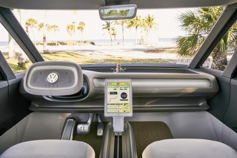 Interior shot of the Volkswagen I.D. Buzz concept microbus.