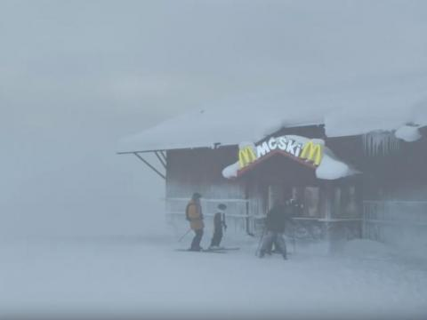 It opened in 1996 and is the first ski-up McDonald's.