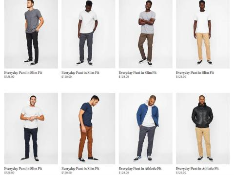 El diseño del sitio web es similar al de Lululemon. La ropa se agrupa por categoría de producto y por actividad.