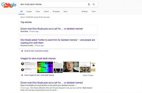 LAYOUT: When it comes to searching for news, Google does the best job of surfacing top stories and making them clearly defined in its design.