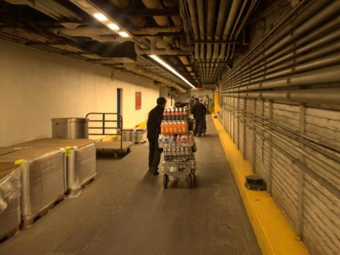 Louis and Santiago deftly moved the thousands of bottles through the storage area and into the part of Penn Station I'm more familiar with.