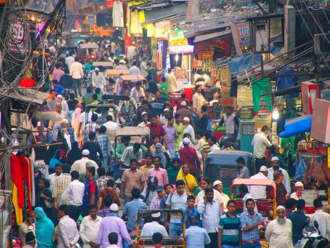 The main street in Old Delhi used to be a promenade for royals dating back to the 17th century. Today it is one of the most crowded marketplaces with wall-to-wall vendors selling everything from spices to wedding attire.