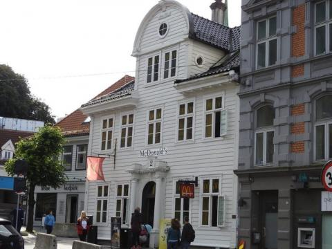 This McDonald's restaurant in Bergen, Norway, is located in one of the oldest traditional Norwegian wooden buildings in the area.