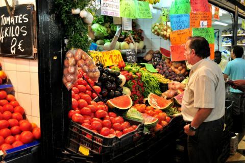 Mercado de frutas en Jerez