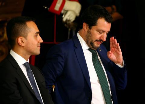 Luigi Di Maio, ministro de industria y trabajo italiano y Mateo Salvini, ministro del interior italiano