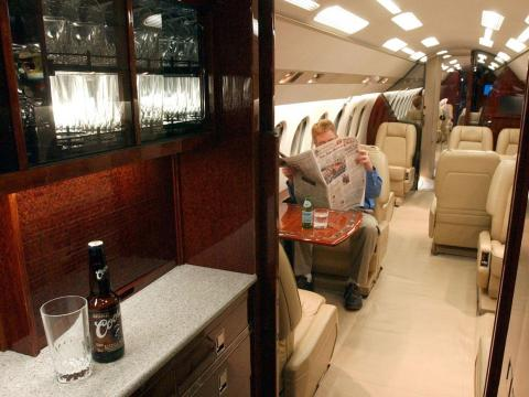 Most private planes seem to be outfitted with luxurious leather seats like the ones Zhang described.