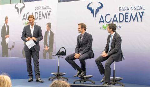 Nadal, junto a Federer y Pallete en la presentación de la Rafa Nadal Academy